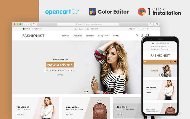 """""""Fashionist Responsive"""" Responsive OpenCart Template №80002"""