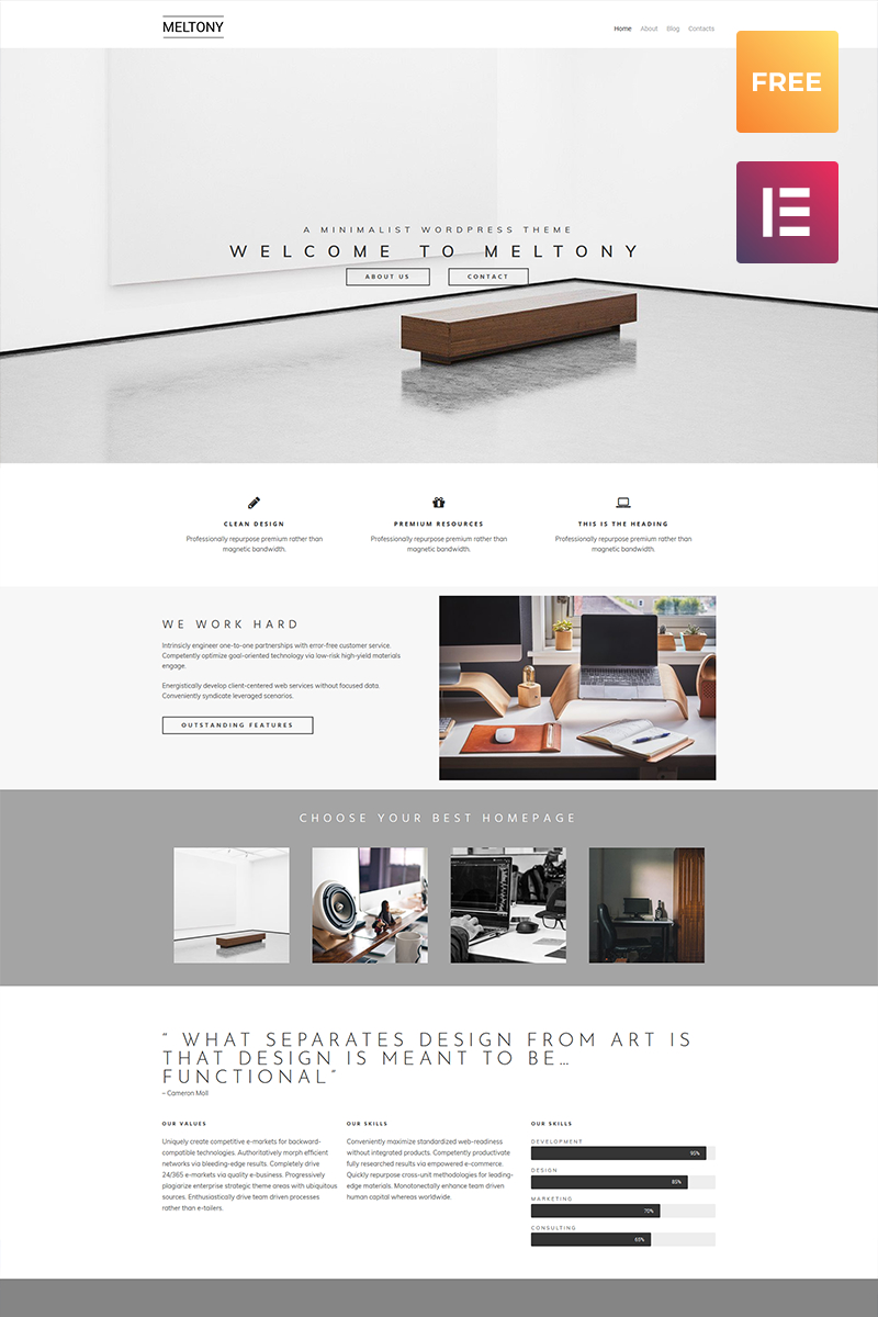 Meltony lite - Minimal Multipurpose Elementor Tema WordPress №80058