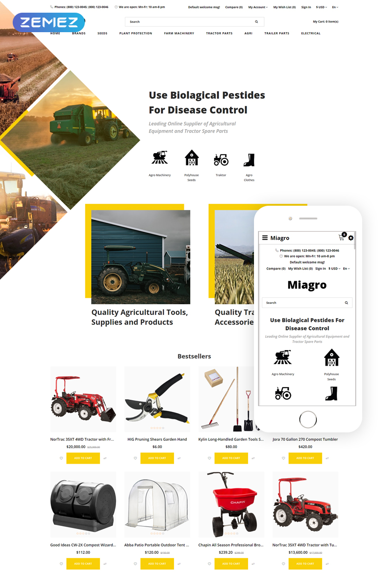 """""""Miagro - Agriculture Equipment Store Clean"""" Responsive OpenCart Template №80063"""
