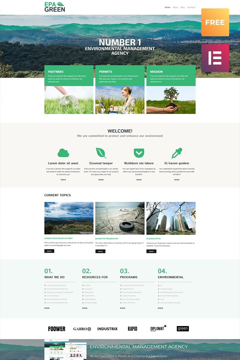 "Modello WordPress Responsive #80039 ""Epa Green Lite - Environmental Responsive"""