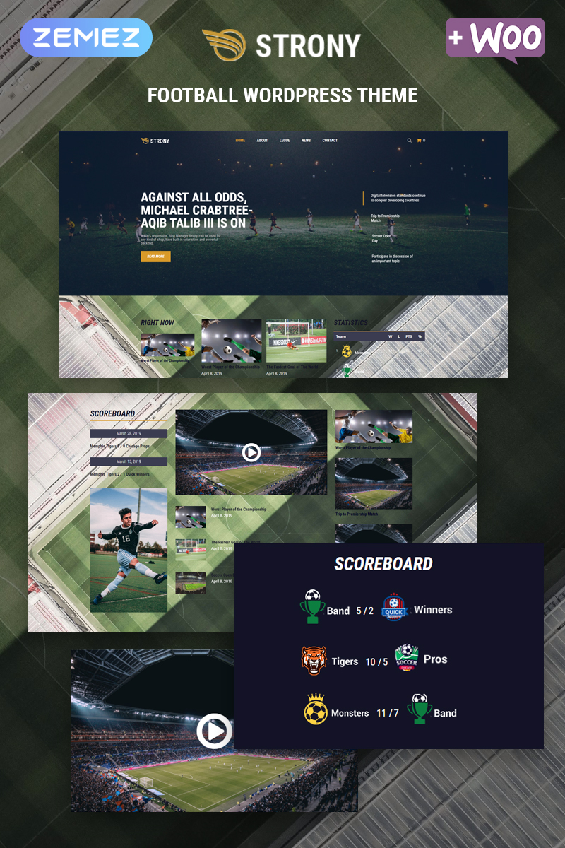Responsivt Strony - Sport Classic Elementor WordPress-tema #80051