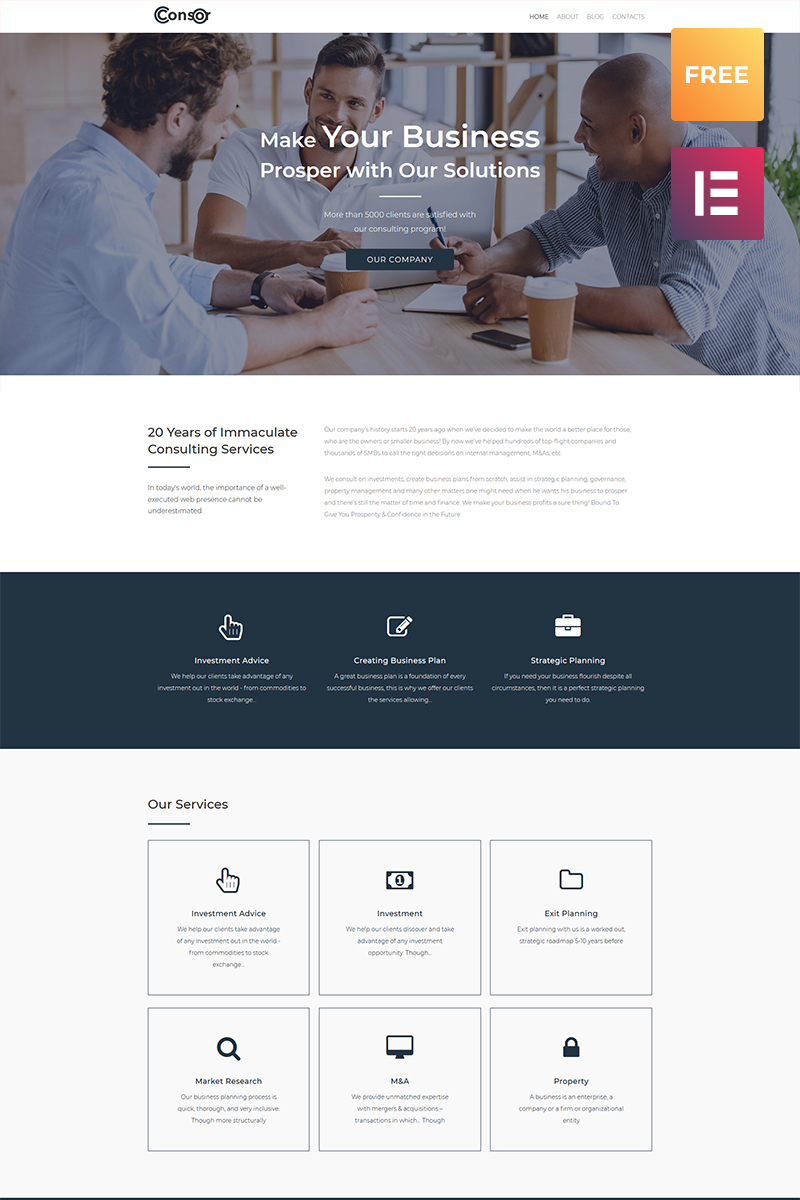 "Tema WordPress Responsive #80070 ""Consor lite - Business Consulting Elementor"""