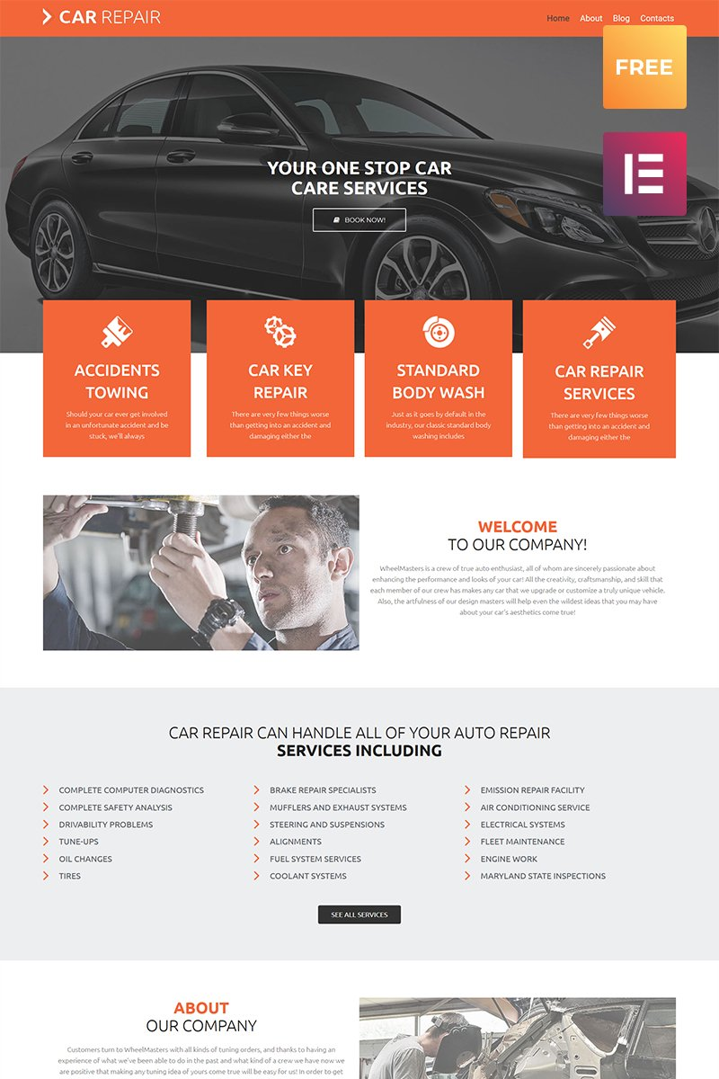 "Template WordPress Responsive #80071 ""Car Repair lite"""