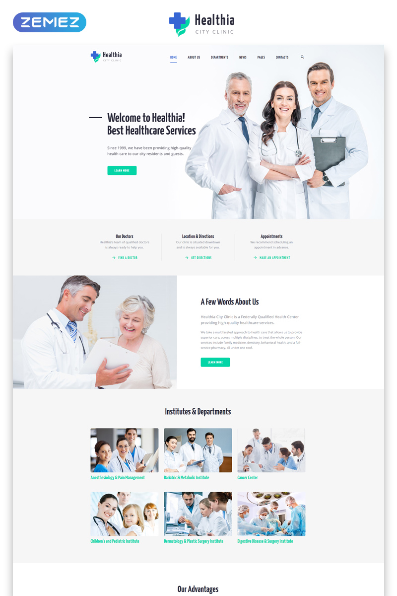 "Website Vorlage namens ""Healthia - Medical & Healthcare Clean Multipage HTML"" #80038"