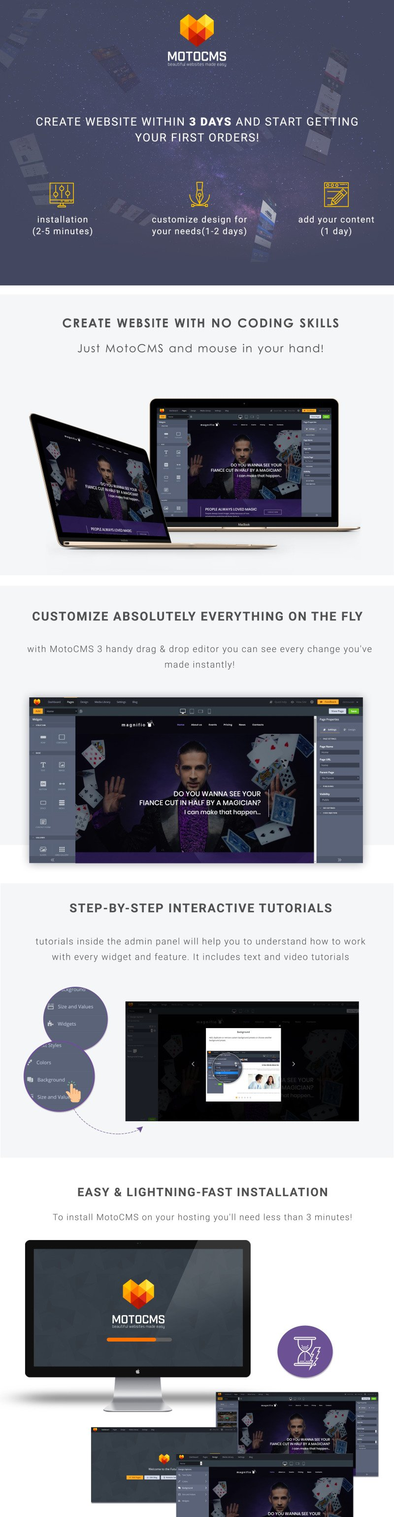 Magnifio - Magician Artist & Performer Moto CMS 3 Template - Features Image 1
