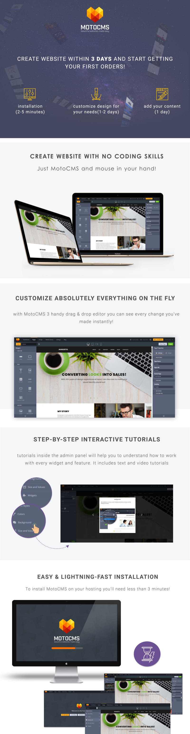 Augusto - Freelance Designer Moto CMS 3 Template - Features Image 1