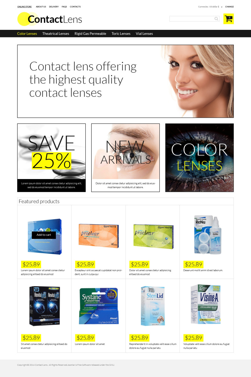 Contact Lens Store Template