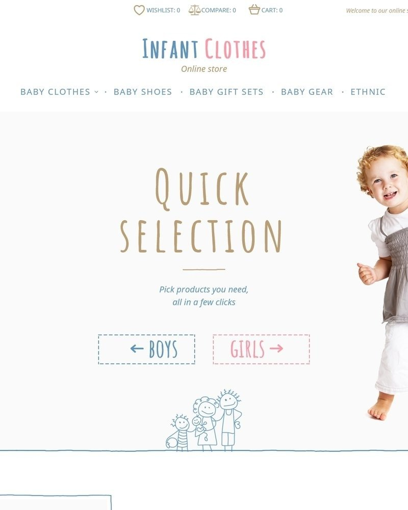 infant Clothes Bootstrap Magento Template
