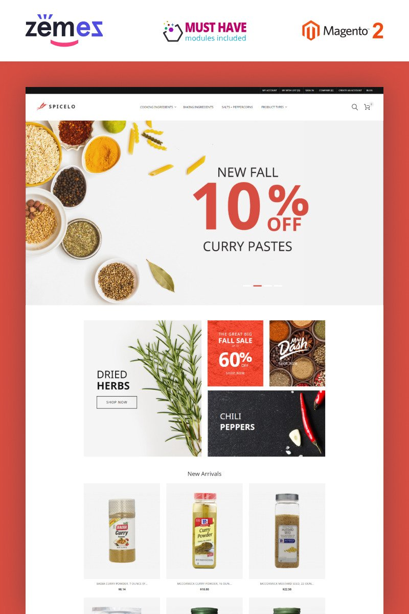 Spicelo - AMP Spice Shop Reponsive Magento Theme