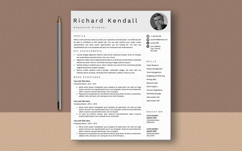Ричард Кендалл MS Word Шаблон резюме