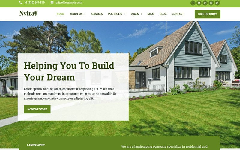 Nvira - Gardening and Landscaping Services with WordPress Elementor Theme