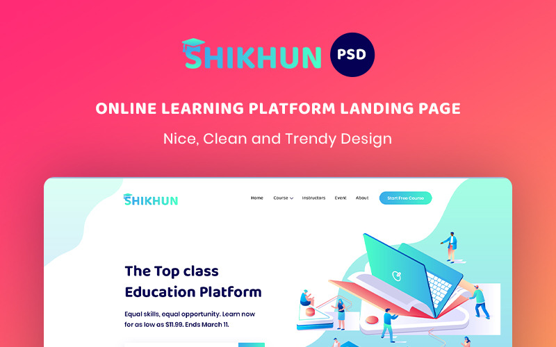Online tanulási platform céloldal PSD sablon