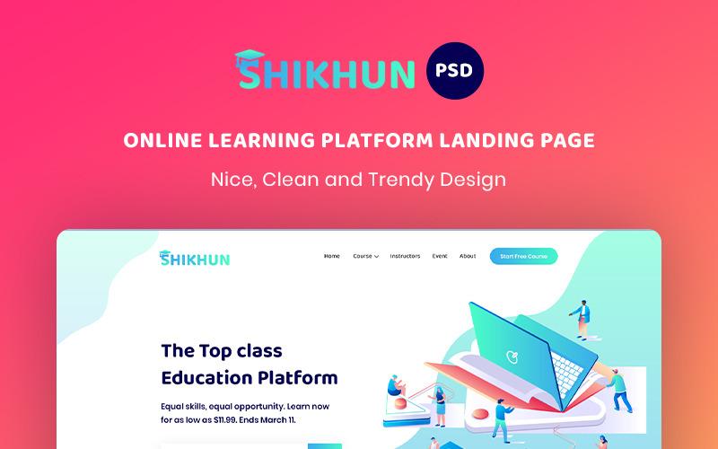 Online leerplatform bestemmingspagina PSD-sjabloon