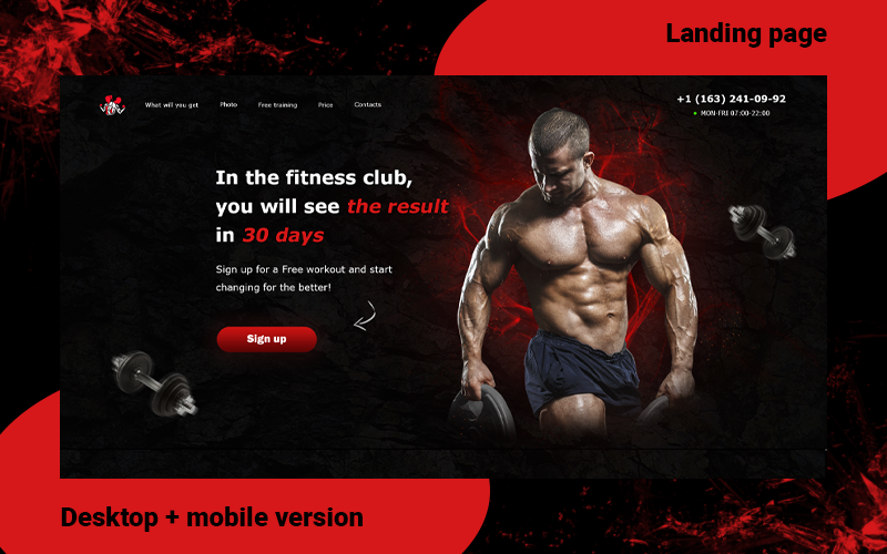 Açılış Sayfası Vücut Geliştirme / Spor Salonu / İşletmeniz için bir web sitesi PSD Şablonu