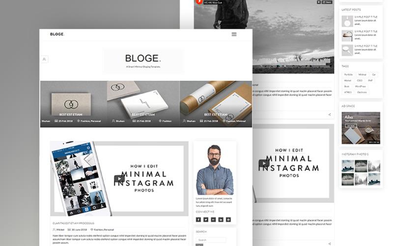 BLOGE Minimal Blogging Website Template