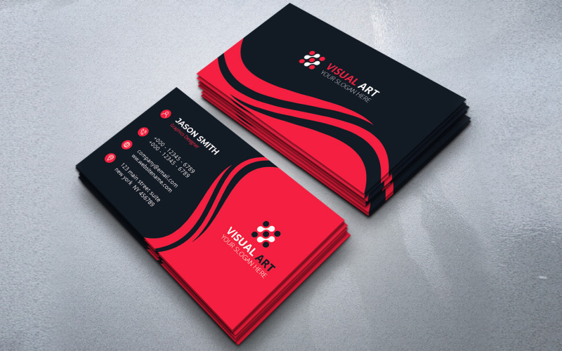 Business Card With Wavy Shapes - Corporate Identity Template