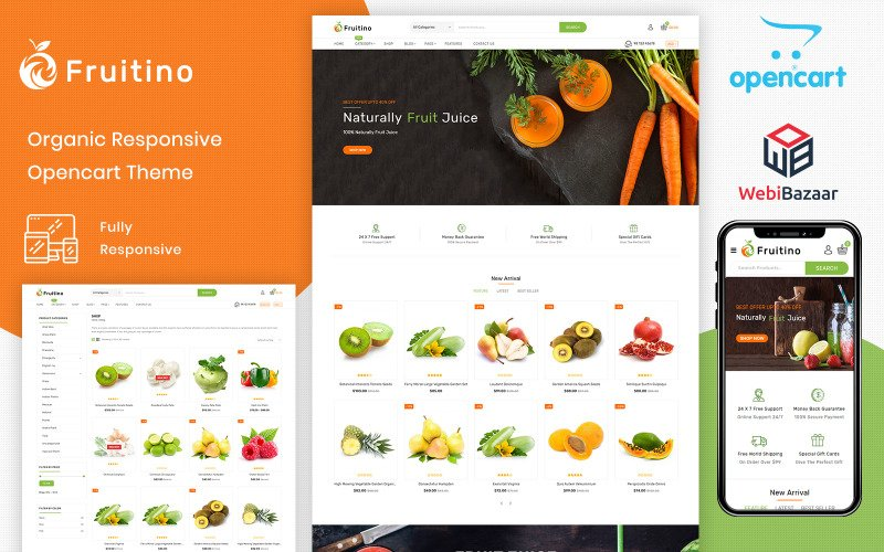 Fruitino - Food & Grocery Store OpenCart-sjabloon