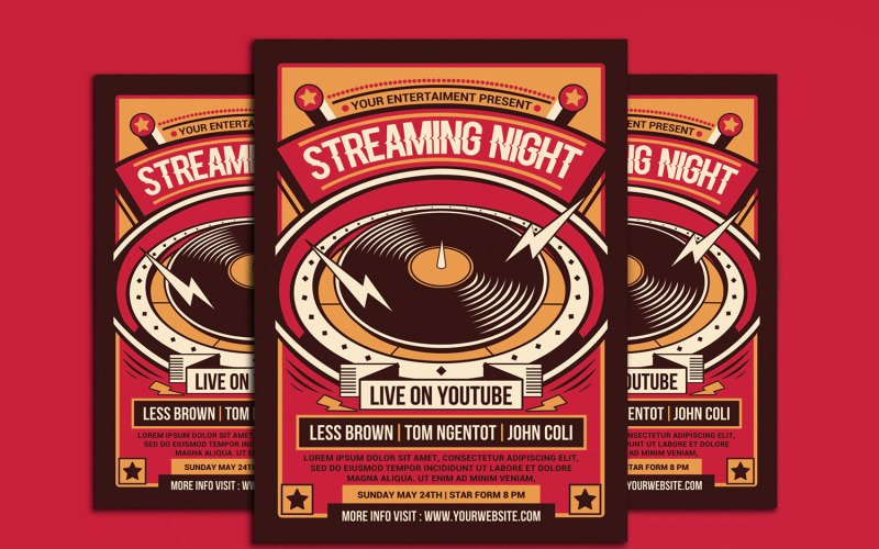 Live Music Streaming Concert Flyer - Corporate Identity Template