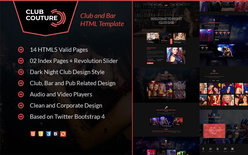 Club Couture - Night Club HTML Website Template