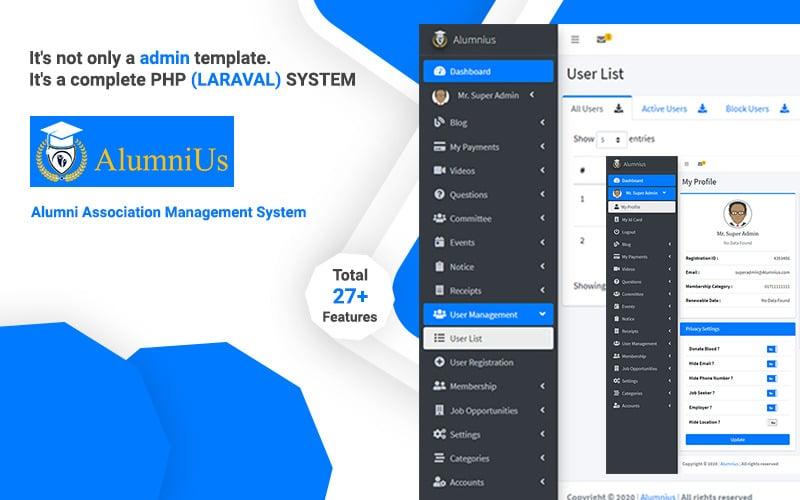 Alumnius- Laravel Association Management System Admin Template