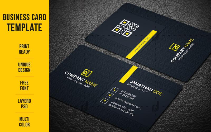 Визитная карточка в минимальном стиле - шаблон фирменного стиля