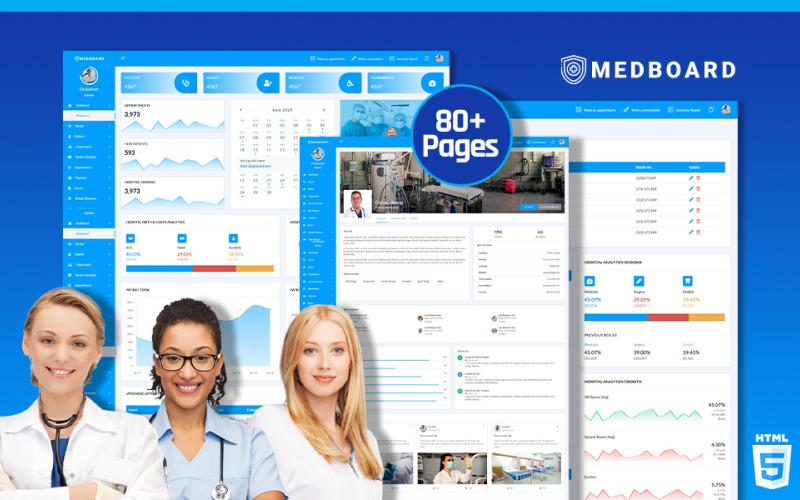 Медичний HTML5 | Шаблон адміністратора Medboard