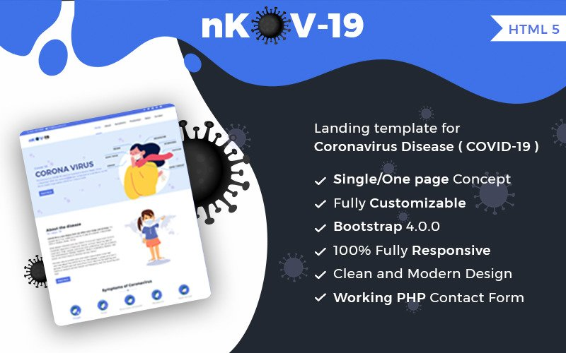 nKov-19 One-Page HTML5 Website Template