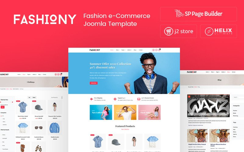 Fashiony - Modèle Joomla de commerce électronique de la mode J2Store