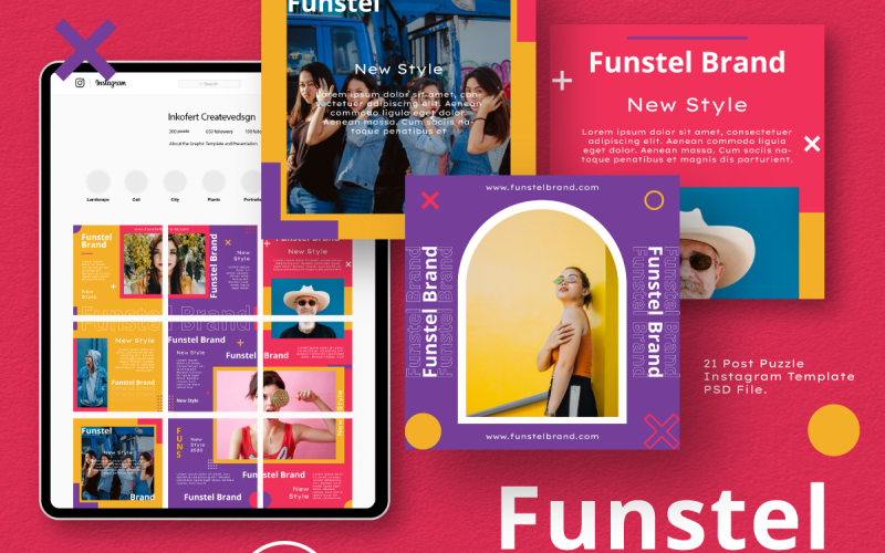 Funstel Puzzle Instagram Feed Template for Social Media
