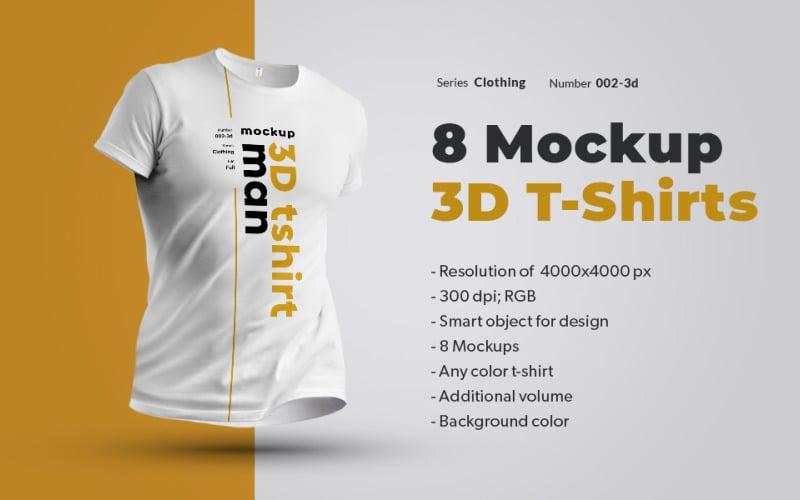 8 T-Shirts 3d Man product mockup