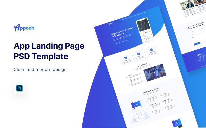 Appoch - App Landing Page PSD Template