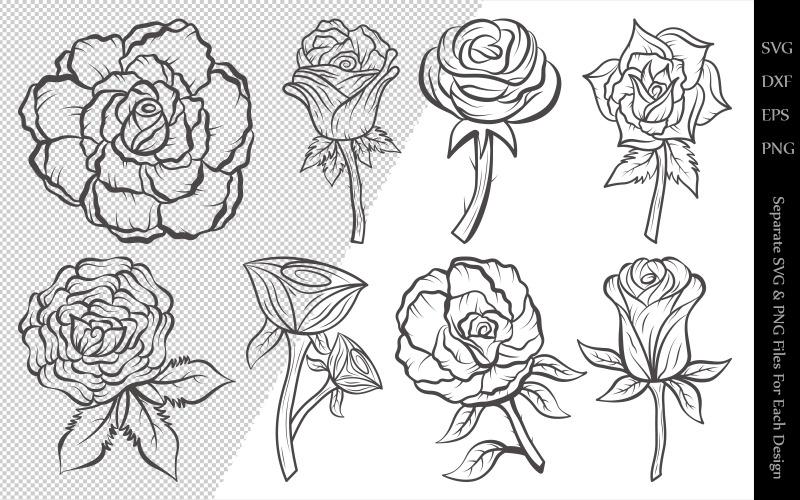 Dibujos de paquete de contorno de flor rosa - Ilustración