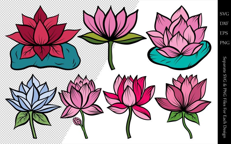 Lotus Flower Clipart Bundle Drawings Illustration 106233