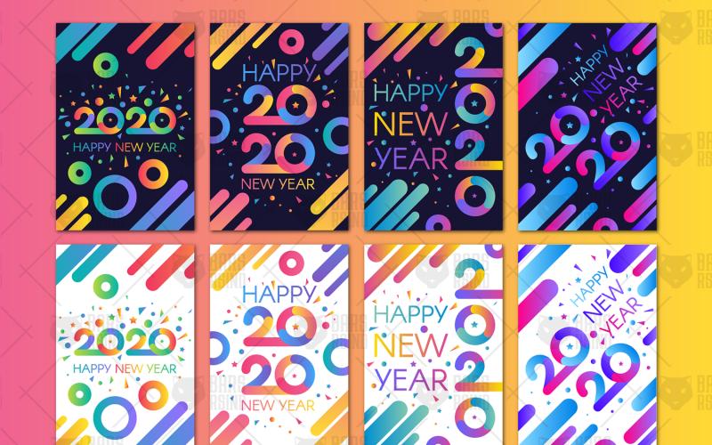 Banners modernos de feliz año nuevo 2020 - plantilla de identidad corporativa