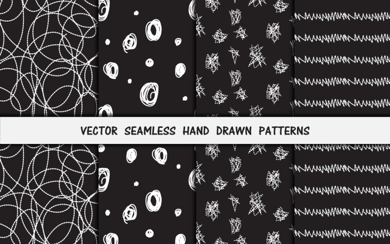 8 Black-White Hand Drawn Pattern