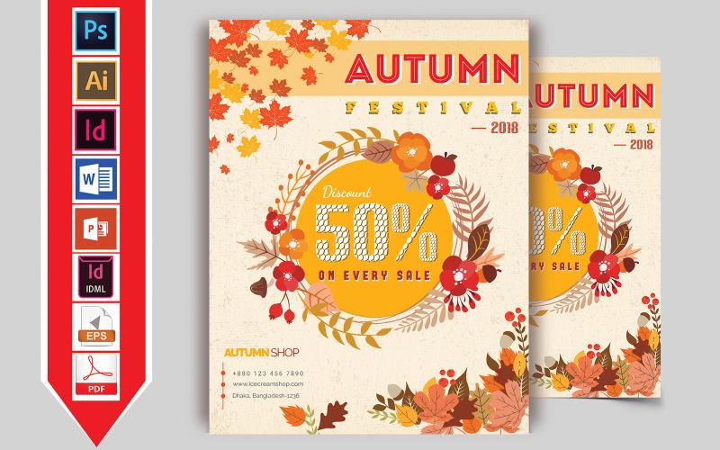 Folleto de venta de otoño otoño Vol-01 - Plantilla de identidad corporativa