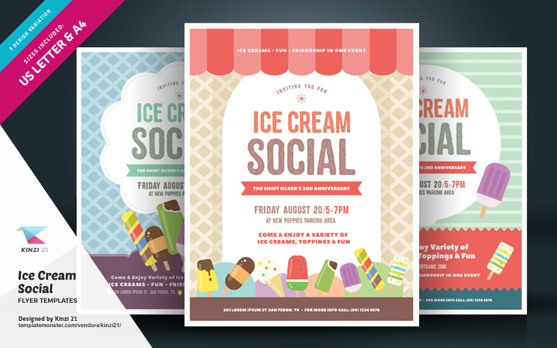 Folleto social de helado - Plantilla de identidad corporativa