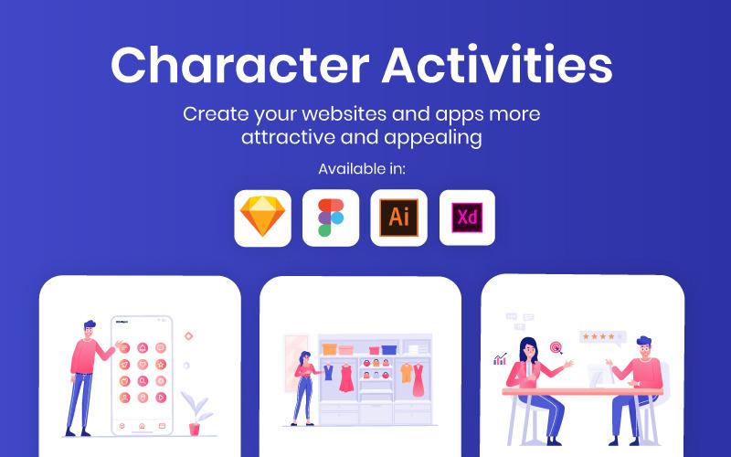 Ilustraciones de actividades de carácter - Imagen vectorial