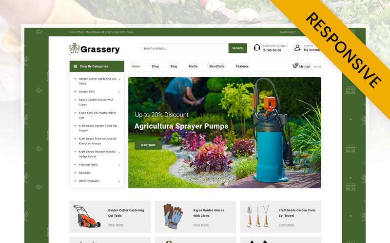 Tema WooCommerce da loja de ferramentas de jardim de grama