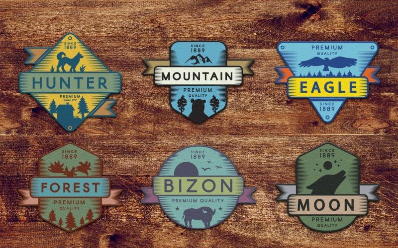 Conjunto de insignias de aventura de colores vintage - Plantilla de identidad corporativa