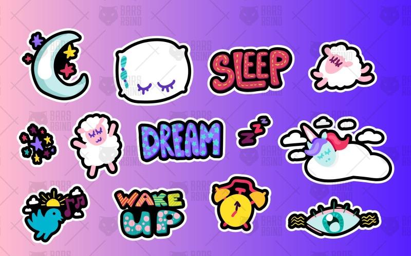 Conjunto de símbolos para dormir y sueños - Plantilla de identidad corporativa