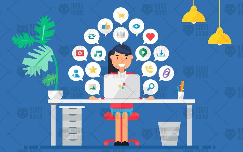 Espacio de trabajo empresarial en línea con mujer - Plantilla de identidad corporativa