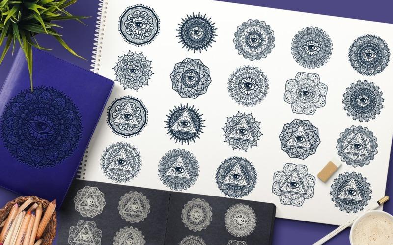 Mandala mística con ojo - Plantilla de identidad corporativa