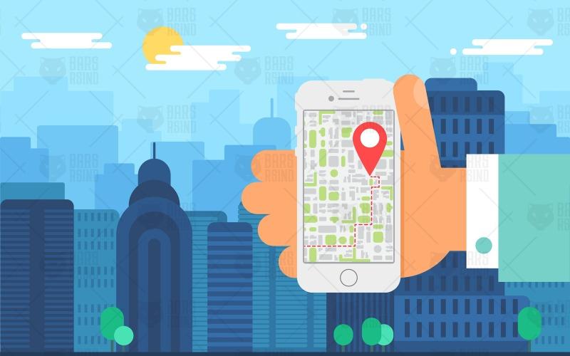 Navegación móvil por la ciudad: plantilla de identidad corporativa