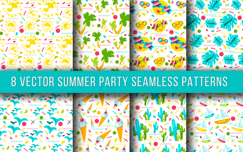 Summer Party Seamless Set Pattern