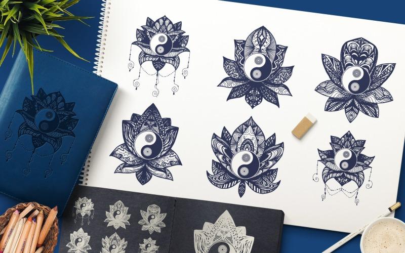 Yin Yang en Lotus - Plantilla de identidad corporativa
