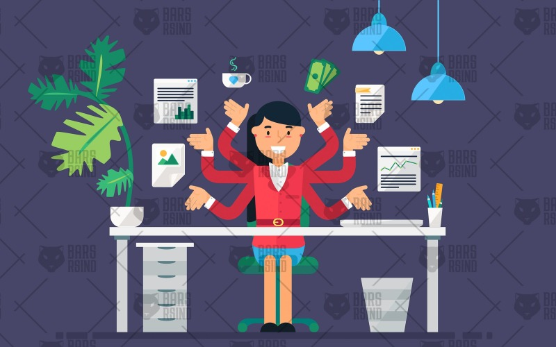 4 conceptos de empleada femenina: plantilla de identidad corporativa