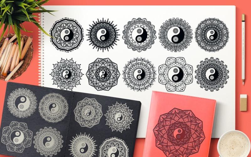 Conjunto de mandalas Yin Yang - Plantilla de identidad corporativa