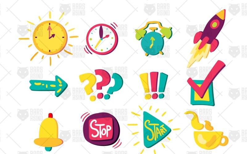Conjunto de señales de gestión del tiempo - Plantilla de identidad corporativa