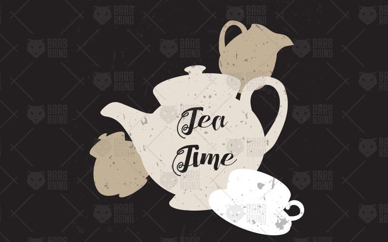 English Tea Time In Teapot - Plantilla de identidad corporativa